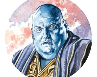 Dorium Maldovar! Watercolour sketch of Simon Fisher-Becker as Dorium Maldovar from the TV series Doctor Who.