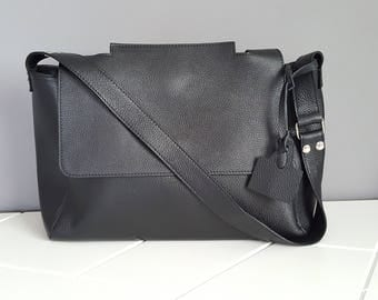 Leather Bag. Italian Handcrafted Black Cross Body Messenger shoulder purse for Travel Office School. Gift for wife anniversary, daughter.