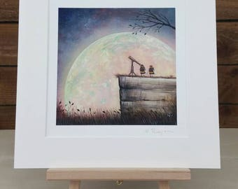 Moon and Telescope Art - Bumble Bee Painting - Home and Nursery Decor - Gift Idea - Space Art - Bee Art