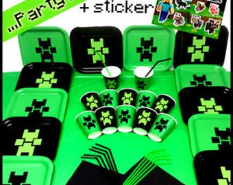 Birthday Party Kit with plates, cups, napkins, drinking straws and table cover with Official Minecraft Sticker