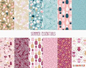 "Digital scrapbooking paper:""Summer Essentials"", printable download, pineapple, popsicle, watermelon, bikini, icecream, tropical leaf pattern"