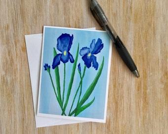 Iris  Card - Flower Notecard - Blank Note Card with Envelope - Mini Art Card - Card Handmade - Original Artwork Card - Custom Note Card