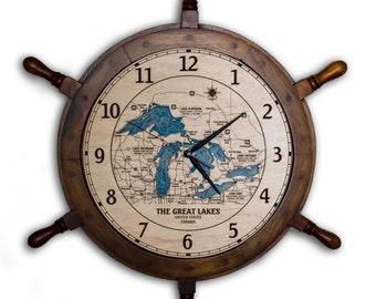 "Great Lakes 24"" Ship Wheel Clock Wood Depth Contour Map"