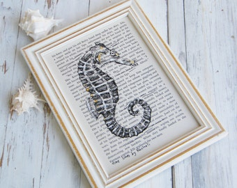 Dictionary print, Sea horse poster, Framed Book art, Nautical art, Nature room decor, Nautical art