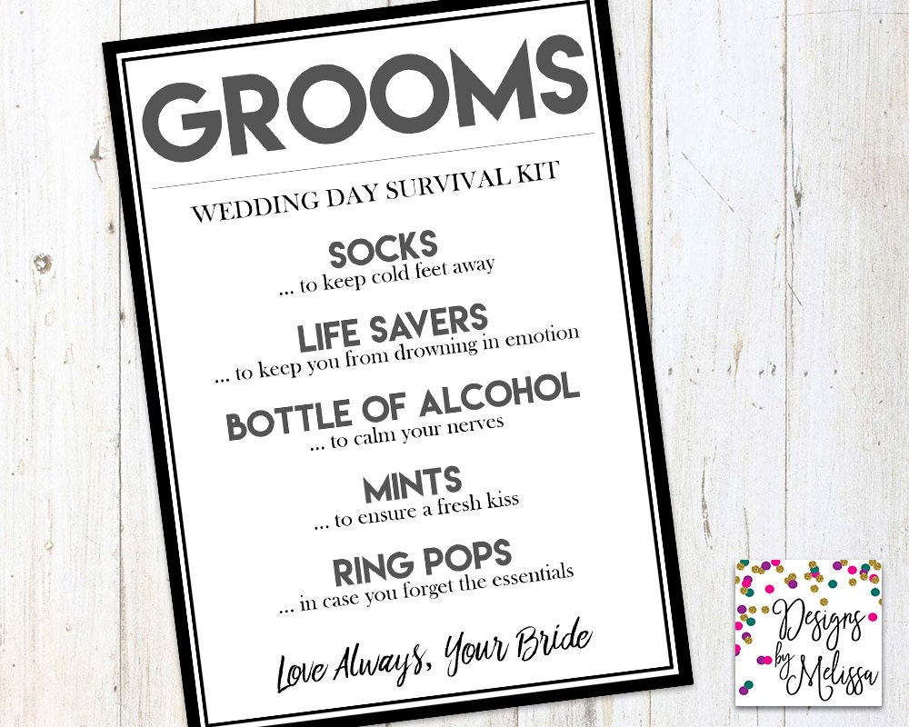 Wedding Day Gift From Groom To Bride: Groom's Wedding Day Survival Kit Groom Gift From Bride