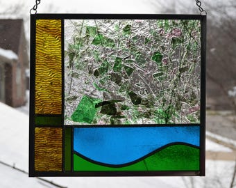 Leaded stained glass abstract panel - Spring Awakening 8 x 9