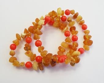 Teething Amber bracelet. Genue Baltic Amber. Natural Pink coral. For Baby. Children. Baby. Therapeutic amber. Medical bracelet. Gift box