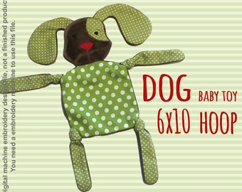 DOGGY 6x10 hoop - Baby Toy - ITH - In The Hoop - Machine Embroidery Design File, digital download