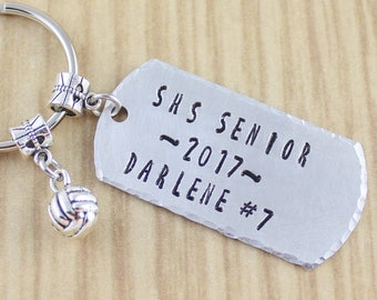 Personalized Volleyball Keychain || Volleyball Gift For Graduating Senior || Volleyball Coach Gift - You Pick The Words Customized Keyring