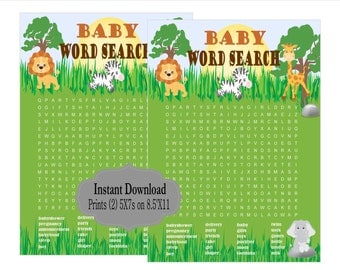 PRINTABLE Baby Shower Games, Baby Word Search, Poster, Jungle Baby Shower Printable, Safari Baby Shower, Safari Collection