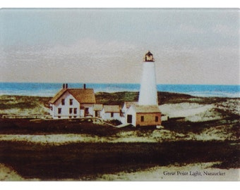 Colorful Tempered Glass Cutting Board Of Nantucket's Great Point Lighthouse As Functional Kitchen Art For Nantucket And Lighthouse Lovers