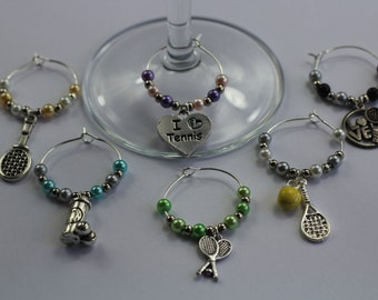 Tennis lovers wine glass charms - Gift