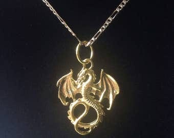 Gold Dragon on Figaro Necklace