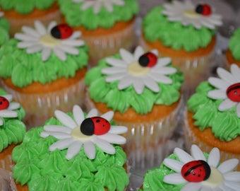 Ladybug fondant cupcake topper, ladybug cupcake, daisy cupcake, daisy fondant cupcake topper