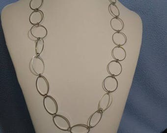 Large Link Silvertone Chain Necklace