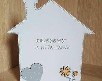 Love grows best in little houses freestanding wooden house shape home decor new home gift housewarming