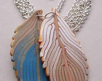Blue Polymer Clay Feathers Necklace (#0011)