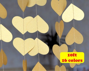Wedding garland Gold heart garland Christmas garland Firaplace decor Mantel decorations 10 ft Gold party Birthday Baby Shower