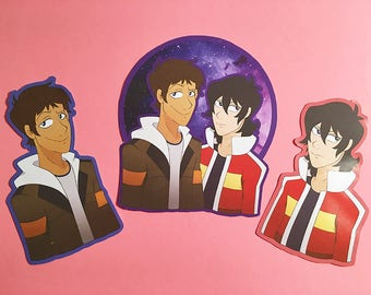 Set of 3 Voltron Legendary Defender Hand-Cut Stickers, Keith and Lance
