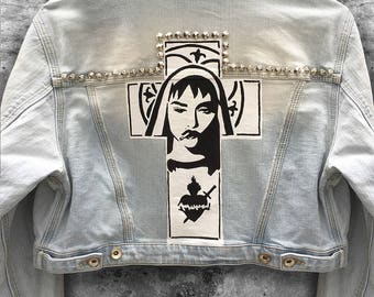 Made To Order Madonna Inspired Hand Painted Denim Jacket