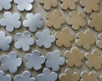 Leather Flowers, 50 Pcs, 16 mm. 20 mm. 25 mm, 30 mm.,, Gold & Silver, Leather Flowers Die Cut, Flowers Decoration, DIY Projects.