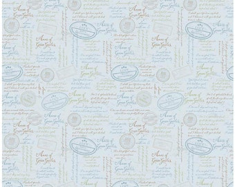 Anne of Green Gables Fabric Collection Blue Quotes from Penny Rose Fabrics for Riley Blake - Listed by the Half Yard