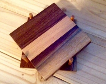 Maple and Walnut Wood Beverage Drink Coasters