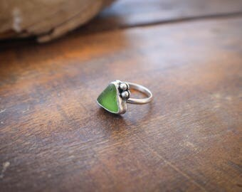 Green Sea Glass Oxidized Sterling Silver Ring,  Green Ring with Recycled Silver Dot Accents, Ocean Ring