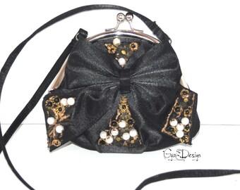 Evening silk black purse, Black clutch, avant garde handbag, hand embroidery purse, statement black purse, beaded hadbag, haute couture
