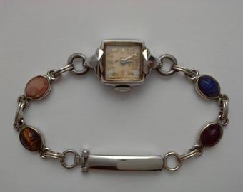 Vintage Elgin Watch, Scarab Watchband, Van Dell Watchband, Van Dell Scarab, White Gold Filled, White Gold Watch, Elgin Ladies Watch