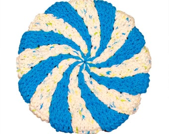 Blue and White Extra Thick Pinwheel Potholder, Spring Summer Colors Hot Pad -  Potholder, Crochet Hotpad, Crochet Pot Holder