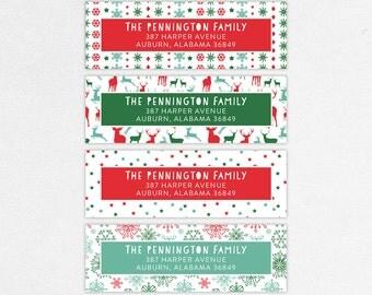 Holiday Return Address Label, Christmas Return Address Labels, Holiday Address Stickers, Christmas Address Stickers, Snowflakes, Reindeer