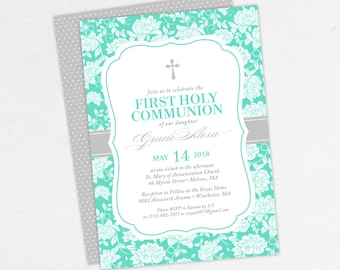 First Communion Invitation, First Holy Communion Invitation, Religious, PDF, DIY Communion Invitation, Floral, Cross, Tiffany Blue, Gracie