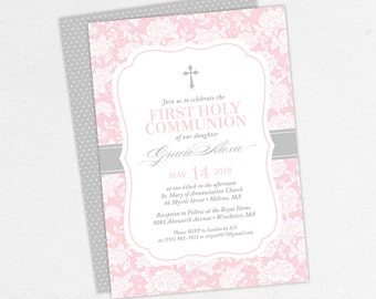 First Communion Invitation, First Holy Communion Invitation, Religious, Print, PDF, DIY Communion Invitation, Floral, Cross, Pink, Gracie