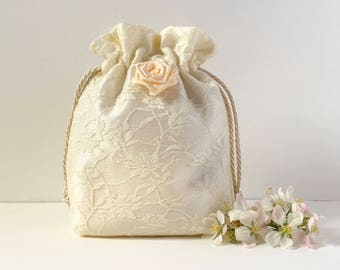 Wedding bag, bridal bag, flower girl bag, Ivory satin and net drawstring pouch, hand made bag, wedding favour bag, bridesmaids bag
