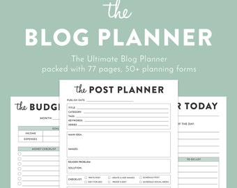 SALE! 50% OFF | Blog Planner, Printable planner, Blog Organizer, Blogging Planner, pdf, Letter sized, 77 pages, blogger planner printable