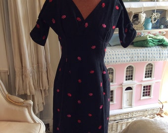 1950 wiggle dress, black wool, pink flowers M