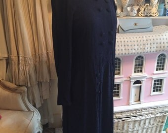 1940s navy blue crepe dress