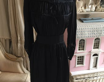 1930s /1940s black satin dress with bows. Outstanding condition