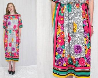 Vintage 80s Toni Todd BOLD Floral SCARF Print Retro Midi Secretary Day Dress M L