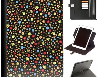 Mulit colour floral pattern Luxury Apple ipad 360 swivel i pad leather case cover with card slots