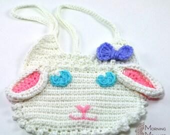 Lamb baby bib, crochet bib, baby gift