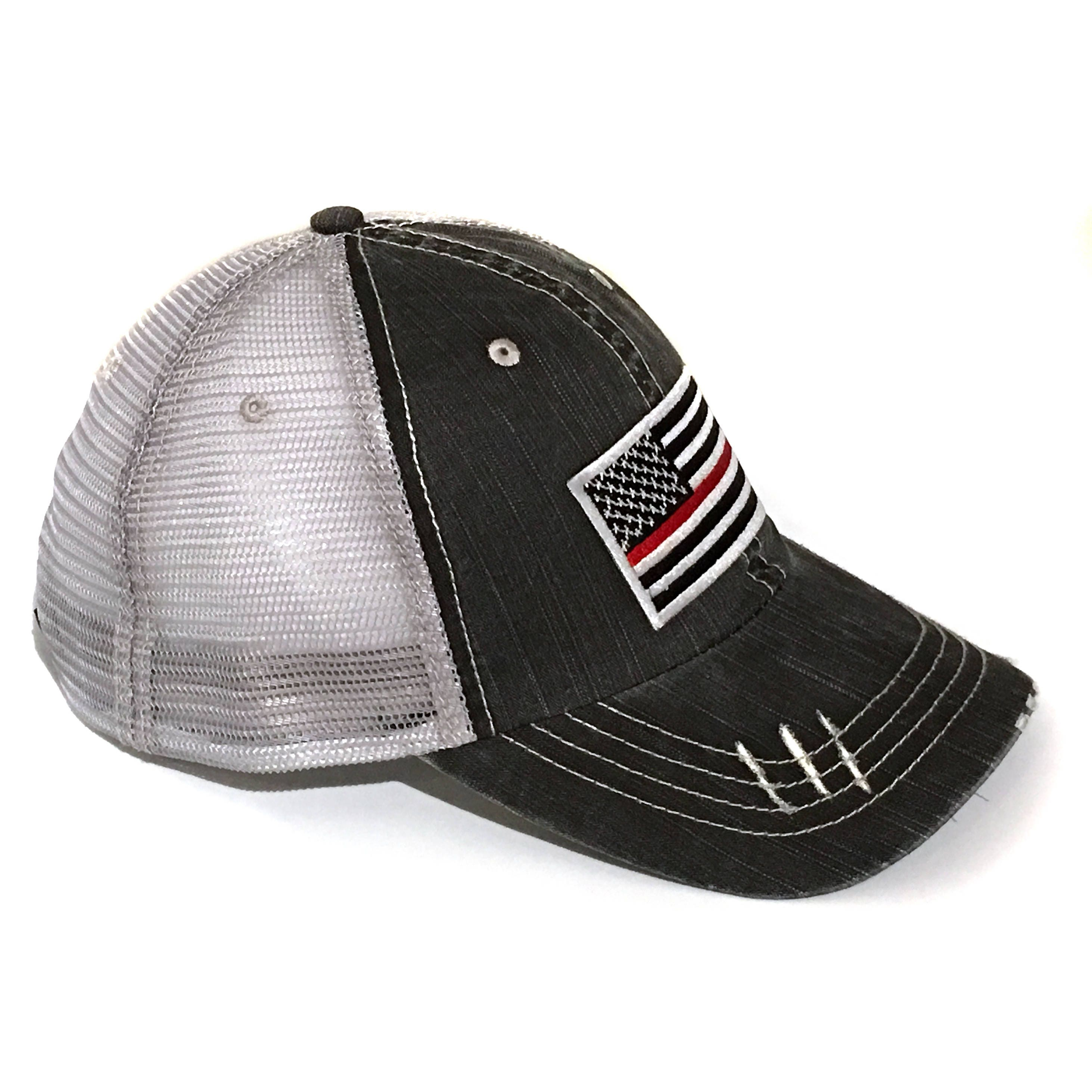 Mens Thin Red Line Baseball Cap Embroidery Dad Hat