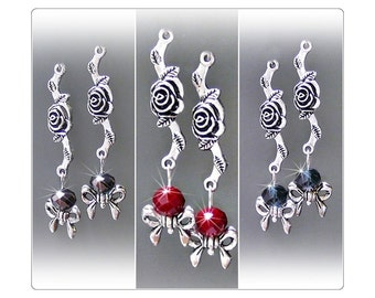 Tibetan Silver Rose, Bow with crystal long drop earrings, choose color and fittings
