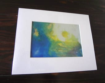 Abstract Painting / India Ink Original Abstract Art/ Yellow and Blue India Ink Painting