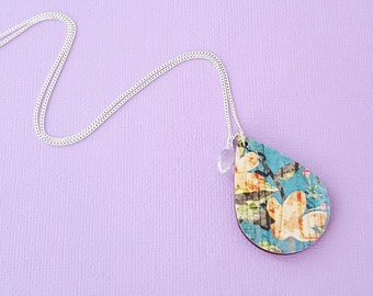 Floral necklace, statement necklace, wooden necklace, sterling silver necklace, decoupage necklace, wood pendant, unique necklace