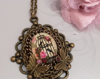 "Necklace ""Bird in cage"""