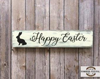 """Happy Easter Sign, Wood Easter Sign, Bunny Sign, Farmhouse Easter Sign, Rustic Wood Sign, 15.75""""W x 3.5""""H"""