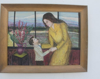 Vintage Mother And Son Still Life Painting By J.Lesser.