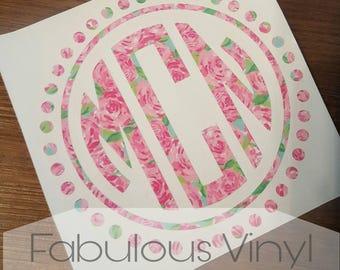 Lily Pulitzer Circle Dot Monogram Decal, Vinyl Decal, Monogram Decal, Yeti Decal, Car Decal, Window Decal, Circle Decal